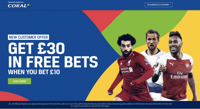 Screenshot 2019 10 29 at 21.38.36 - Coral £30 Free Bet Exclusive - Bet £5 Get £30 Free Bet : CLAIM NOW!