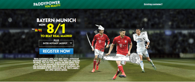 baya - Get 8/1 Bayern Munich to Beat Real Madrid | PaddyPower Champions League Enhanced Odds Offer