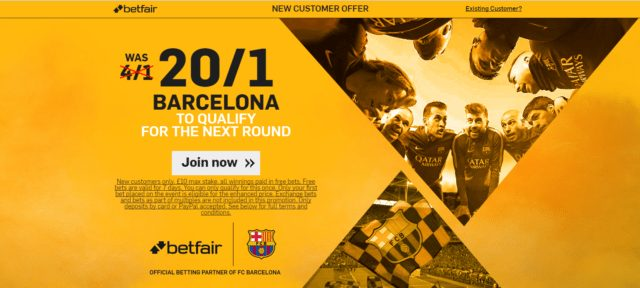 enma - Get 20/1 Barca To Qualify | Betfair Champions League Enhanced Odds Offer