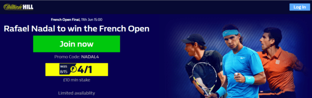 nadal to win 1 - Get 4/1 Nadal To Win French Open 2017 | William Hill Roland Garros Enhanced Odds Offer