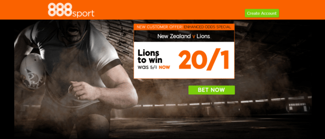 rugby offer - Get 20/1 The Lions To Beat New Zealand | 888 Sport Rugby Enhanced Odds Offer