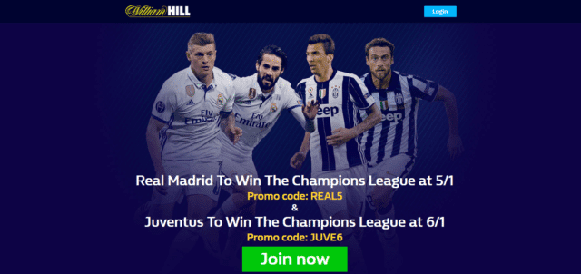 wh ucl offer - Get Exclusive 5/1 Real Madrid or 6/1 Juventus To Win Offer | William Hill Champions League Enhanced Odds Offer