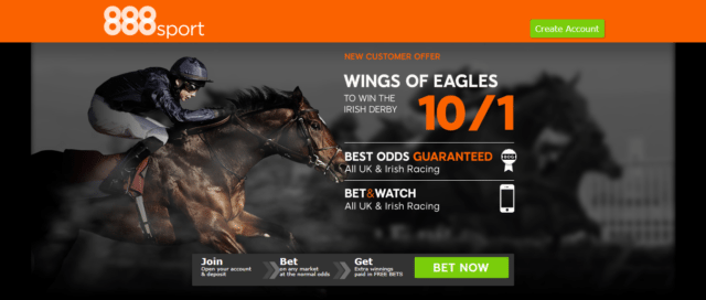 wings of eagles - Get 10/1 Wings Of Eagles To Win The Irish Derby   888 Sport Horse Racing Enhanced Odds Offer