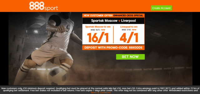 Screenshot 65 1 - Get 16/1 for Spartak Moscow to win or 4/1 for Liverpool to win | 888 Sport Champions League Enhanced Odds Offer