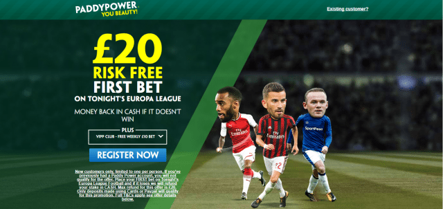 paddy el 1 - Get £20 Risk-Free Bet For Europa League Matches | PaddyPower Football Enhanced Odds