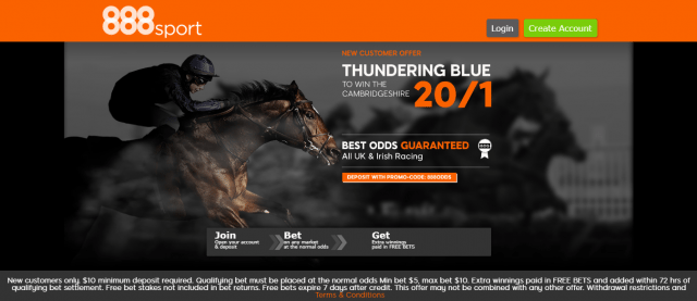 thundering blue - Get 20/1 Thundering Blue To Win The Cambridgeshire | 888 Sport Horse Racing Enhanced Odds