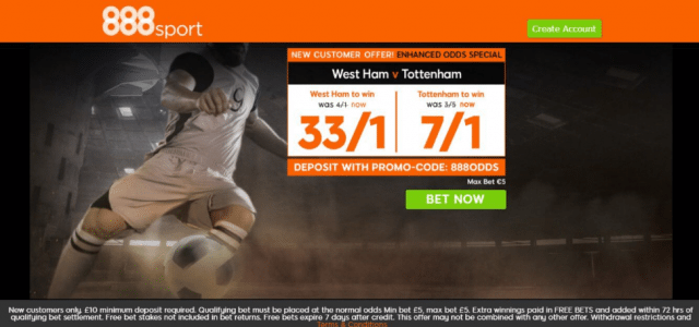 whu v tot - Get 33/1 West Ham or 7/1 Tottenham To Win | 888 Sport Premier League Enhanced Odds