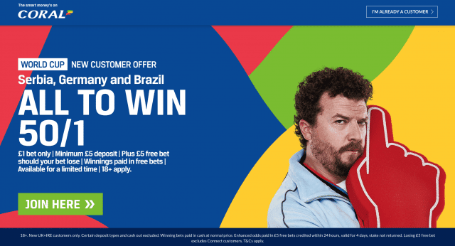 Get 50/1 Serbia, Germany and Brazil All To Win | Coral World