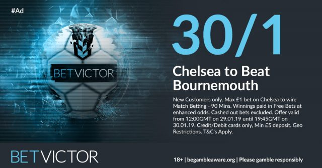 30/1 Chelsea to beat Bournemouth