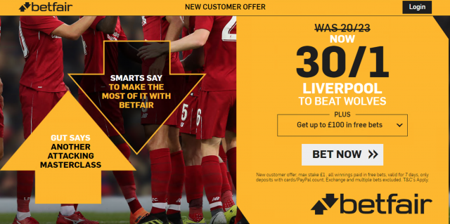 30/1 Liverpool to beat Wolves