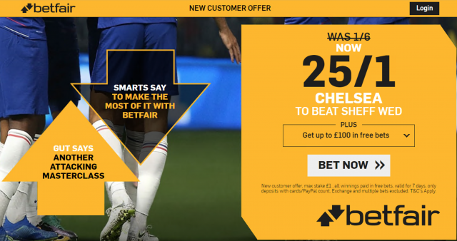 25/1 Chelsea to beat Sheffield Wednesday