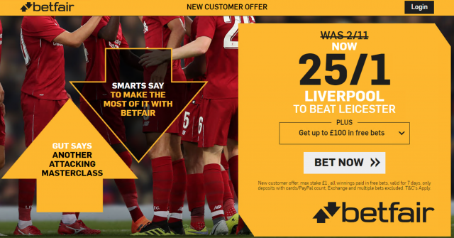 25/1 Liverpool to beat Leicester