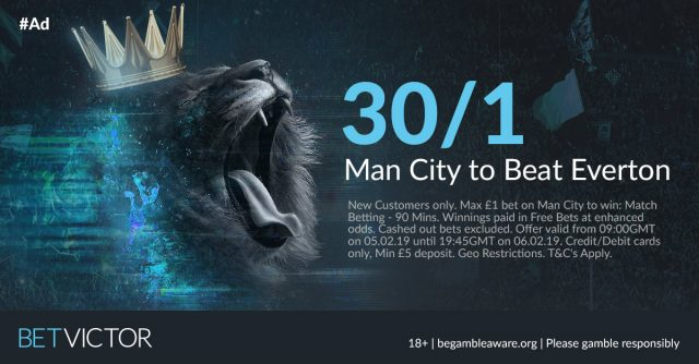 30/1 Man City to Beat Everton