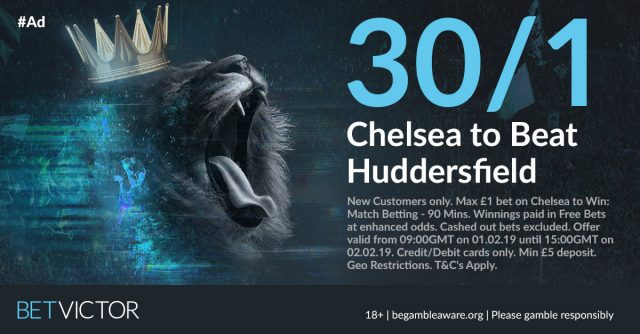30/1 Chelsea to beat Huddersfield
