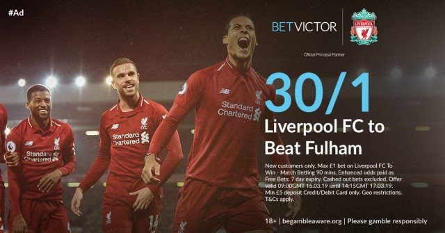 30/1 Liverpool to beat Fulham