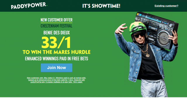 Screenshot 2019 03 08 at 18.34.47 - Get 33/1 Benie Des Dieux To Win Mares Hurdle | Paddy Power Cheltenham Enhanced Odds Offer