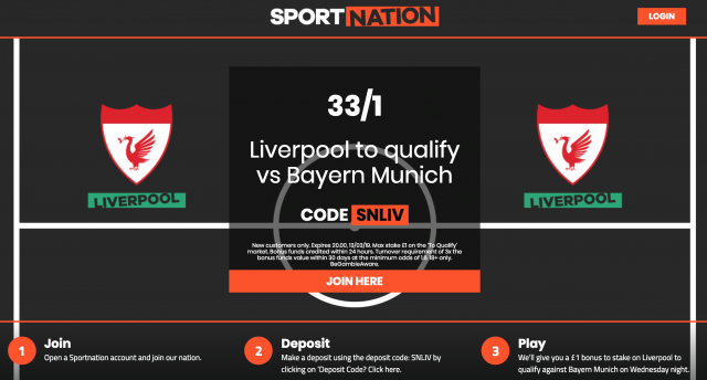 Screenshot 2019 03 11 at 13.00.05 - Get 33/1 Liverpool To Qualify | SportNation Bayern Munich v Liverpool Enhanced Odds Offer