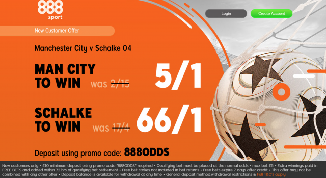 Screenshot 2019 03 11 at 17.48.35 - Get 5/1 Man City Or 66/1 Schalke To Win | 888 Man City v Schalke Enhanced Odds Offer