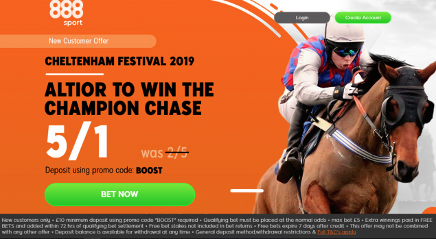Screenshot 2019 03 12 at 15.27.56 - Get 5/1 Altior To Win | 888 Champion Chase Odds Enhancement Offer
