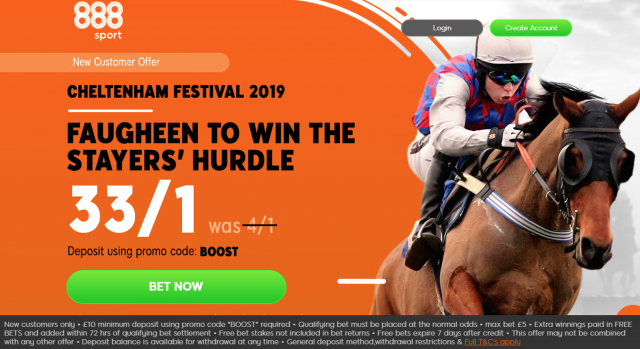 Screenshot 2019 03 13 at 17.26.03 - Get 33/1 Faugheen To Win | 888 Stayers' Hurdle Odds Enhancement Offer