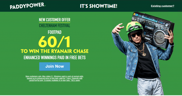 Screenshot 2019 03 13 at 20.28.34 - Get 60/1 Footpad To Win Ryanair Chase | Paddy Power Cheltenham Enhanced Odds Offer