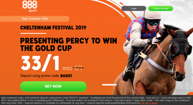 Screenshot 2019 03 14 at 16.37.45 - Get 33/1 Presenting Percy To Win | 888 Gold Cup Odds Enhancement Offer