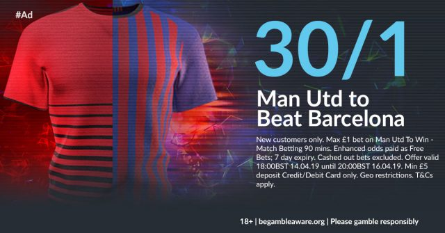 30/1 Man Utd to beat Barcelona