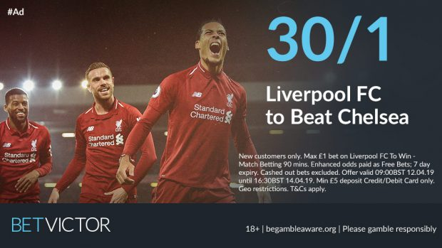 30/1 Liverpool to beat Chelsea
