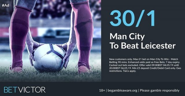 30/1 Man City to beat Leicester