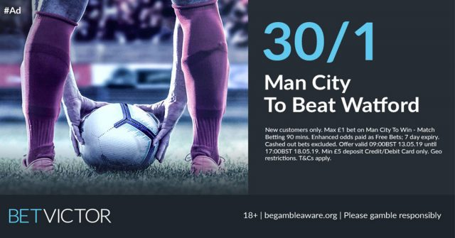 30/1 Man City to beat Watford