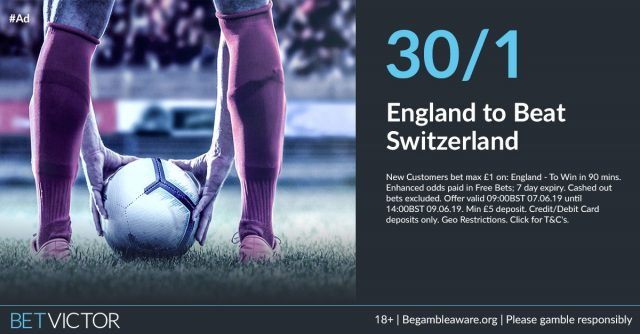 30/1 England to beat Switzerland