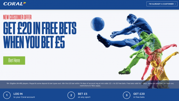 Screenshot 2020 09 07 at 14.42.14 - Coral £20 Free Bet Exclusive - Bet £5 Get £20 Free Bet : CLAIM NOW!